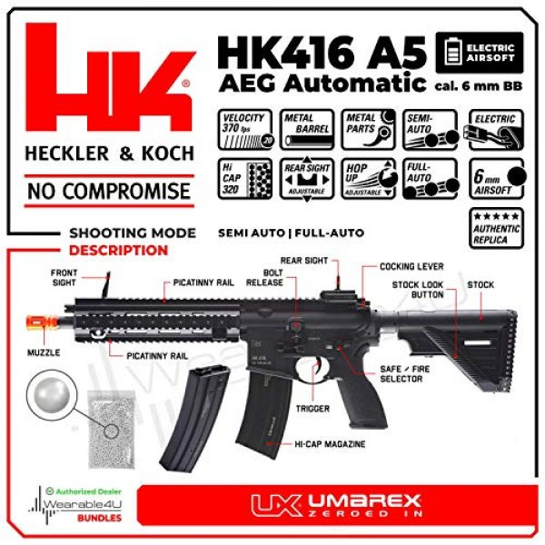 Wearable4U Airsoft Rifle 2 Umarex Elite Force HK Heckler & Koch 416 A5 AEG Electric Automatic 6mm BB Rifle Airsoft Gun with Wearable4U Bundle