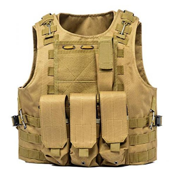KIDYBELL Airsoft Tactical Vest 1 KIDYBELL Khaki Adjustable Airsoft Vest Lightweight Oxford Cloth Tactical Training Vest is Suitable for Outdoor Hunting Army Fan Combat Training Airsoft and Other Outdoor Sports