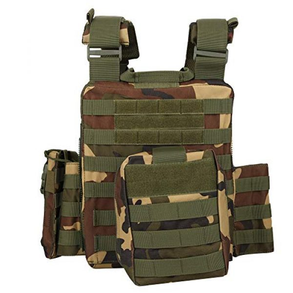 Rosvola Airsoft Tactical Vest 2 Adjustable Molle Tactics Camouflage/Black Wear Resistant Outdoor Waistcoat, Outdoor Tactics Waistcoat, Multi Pocket for Items Put Items