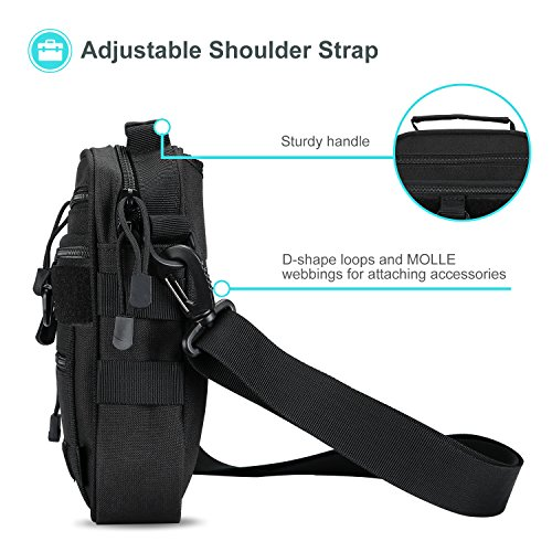 ProCase Pistol Case 6 ProCase Pistol Bag, Military Gear Tactical Handgun Shoulder Strap Bag Gun Ammo Accessories Pouch Shooting Range Duffle Bag for Shooting Range Sport - Black