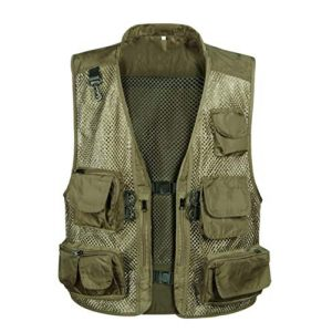 DAFREW Airsoft Tactical Vest 1 DAFREW Men Outdoor Sport Multi-Pocket Mesh Vest Fly Fishing Photography Shooting Travel Quick-Dry Jacket Waistcoat (Color : Shallow Army Green, Size : M)