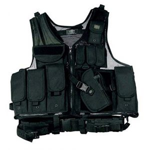 Taigear Airsoft Tactical Vest 1 Black Tactical Vest Rt Handed Holster SWAT Paintball Airsoft