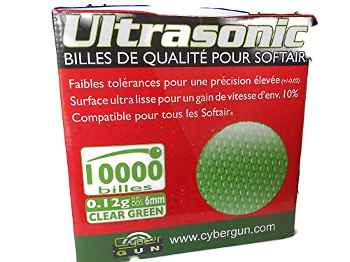 Ultrasonic Airsoft BB 2 Ultrasonic Premuim Grade Airsoft BBs, Clear Green 0.12g/6mm, 10,000 Count