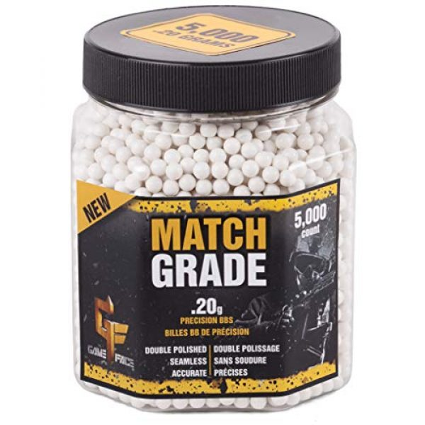 Game Face Airsoft BB 1 Game Face 20GPW5J Match Grade .20-Gram White Airsoft BBs (5000-Count)