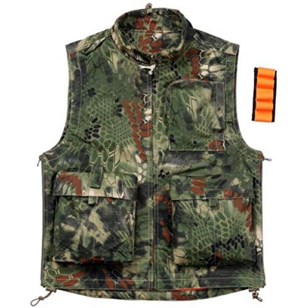 HAOWUTX Airsoft Tactical Vest 1 HAOWUTX Tactical Vest Outdoor Multifunctional Waist Bag for Hunting Photography Airsoft Paintball CS Jacket Camouflage (Color : Green camo, Size : M)