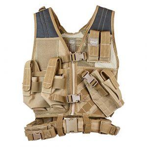 Valken Airsoft Tactical Vest 1 Valken Tactical Crossdraw Vest - Youth - Tan