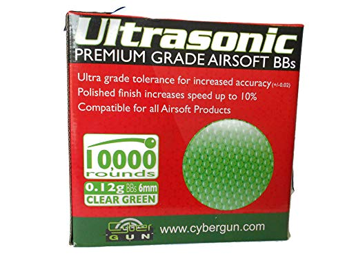 Ultrasonic Airsoft BB 1 Ultrasonic Premuim Grade Airsoft BBs, Clear Green 0.12g/6mm, 10,000 Count