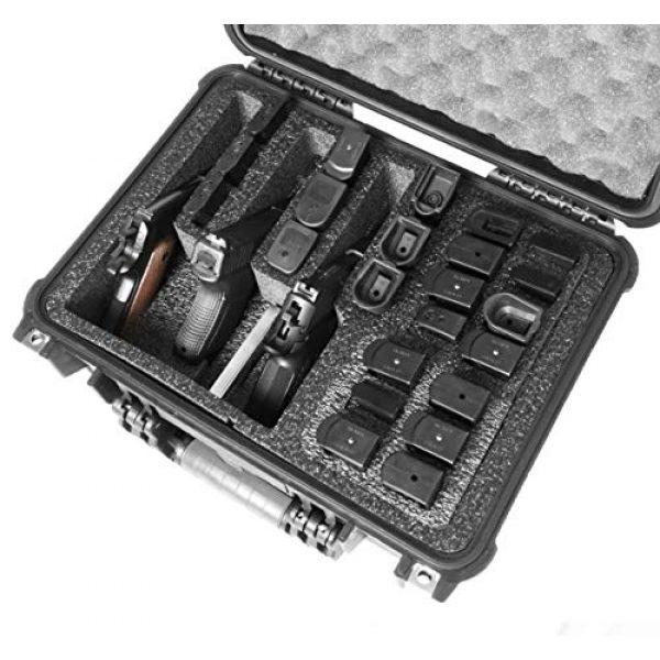 Case Club Pistol Case 6 Case Club 3 Pistol & Accessory & Up to 23 Magazines Pre-Cut Waterproof Case with Silica Gel to Help Prevent Gun Rust (Gen 2)