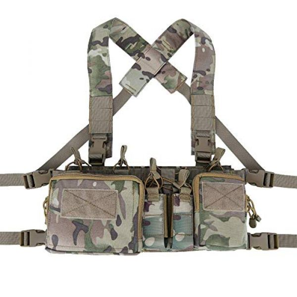 Armiya Airsoft Tactical Vest 2 Armiya Mens Tactical Airsoft Chest Rig Molle Harness Vest Multicam Mag Pouch with Multi Pockets for Hiking Training Cycling