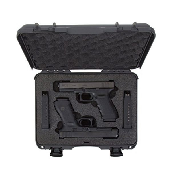 Nanuk Pistol Case 5 Nanuk 910 2UP Waterproof Hard Case w/Custom Foam Insert for Glock Pistols - Graphite