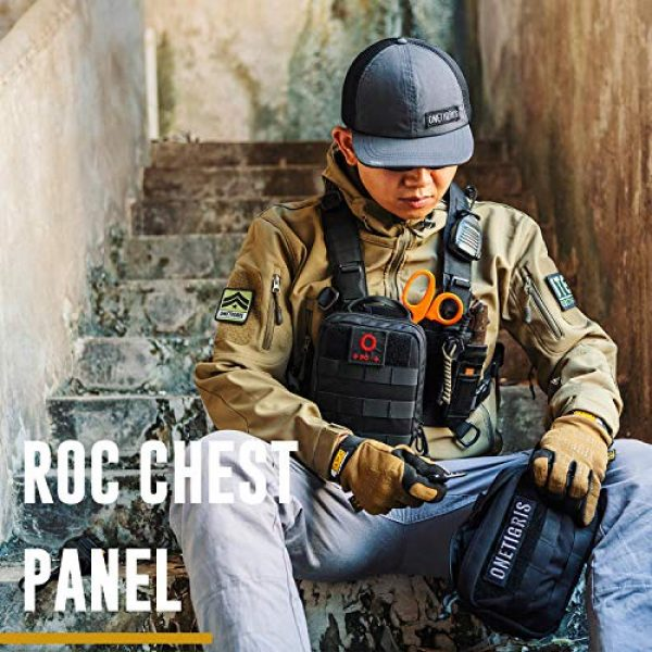 OneTigris Airsoft Tactical Vest 6 OneTigris ROC Chest Rig Tactical Modular Panel with Removable X Shoulder Strap and Mesh Backing