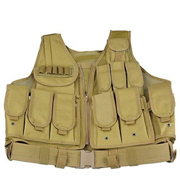 HHFC Airsoft Tactical Vest 4 HHFC Tactical Vest Military Airsoft Vest Adjustable Breathable Combat Training Vest for Outdoor Hunting, Fishing, Army Fans, Survival Game, Combat Training