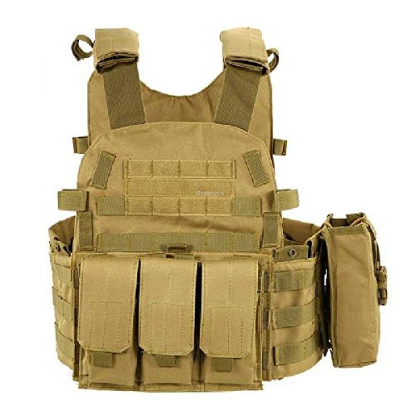 BGJ Airsoft Tactical Vest 2 Tactical Molle Vest Nylon Body Armor Hunting Plate Carrier Airsoft Paintball Vest with Magazine Pouch CS Game Combat Gear