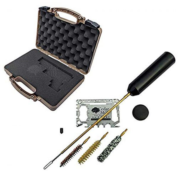 Cedar Mill Fine Firearms Pistol Case 1 Cedar Mill Fine Firearms -Worlds Smallest Micro Pistol Cleaning Kit for Handguns | Free Super-X Tool Bundle with Hard Gun Case Pistol Case (Desert TAN) |TSA Approved with Pick and Pluck Foam (2 items)