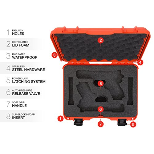 Nanuk Pistol Case 6 Nanuk 910 2UP Waterproof Hard Case w/Custom Foam Insert for Glock Pistols - Orange