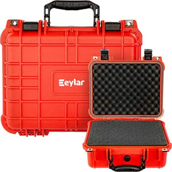 Eylar Pistol Case 6 Eylar Tactical Hard Gun Case Water & Shock Proof with Foam 13.37 inch 11.62 inch 6 inch Red