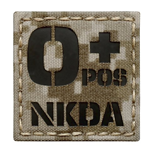 Tactical Freaky Airsoft Morale Patch 1 Digital Desert AOR1 Infrared IR OPOS NKDA O+ Blood Type 2x2 Tactical Morale Hook-and-Loop Patch