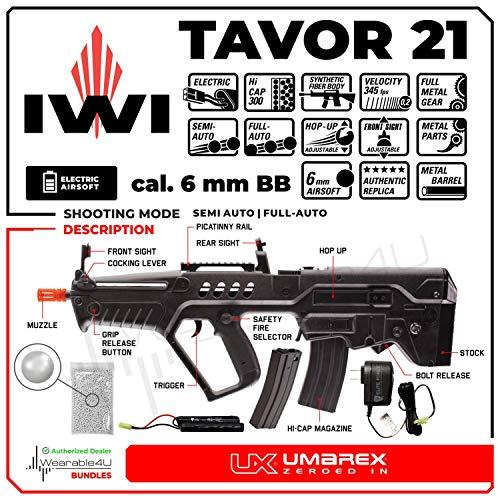 Wearable4U  2 Wearable4U Umarex Elite Force IWI Tavor 21 (Competition Series) AEG Electric 6mm BB Rifle Airsoft Gun Bundle