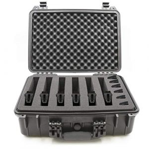"CASEMATIX Pistol Case 1 CASEMATIX 18"" Customizable 6 Pistol Multiple Pistol Case - Waterproof & Shockproof Hard Gun Cases for Pistols, Magazines and Accessories - Multi Gun Case for Pistols with 3"" Thick Customizable Foam"