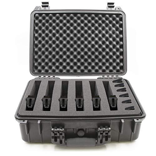 "CASEMATIX Pistol Case 1 CASEMATIX 18"" Customizable 6 Pistol Multiple Pistol Case - Waterproof & Shockproof Hard Gun Cases for Pistols, Magazines and Accessories - Multi Gun Case for Pistols with 3"" Thick Customizable Foam"