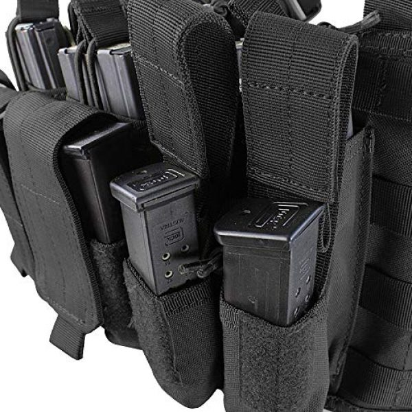 ATG Airsoft Tactical Vest 4 ATG Tactical Recon Rifle Pistol Magazine Pouches Chest Rig (Black)