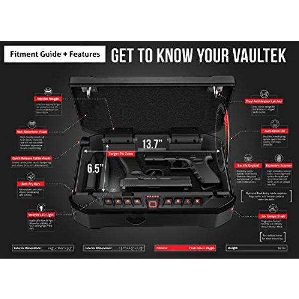 Vaultek Pistol Case 4 VAULTEK VTi Full-Size Biometric Handgun Bluetooth Smart Safe Multiple Pistol Safe with Auto-Open Lid and Rechargeable Battery