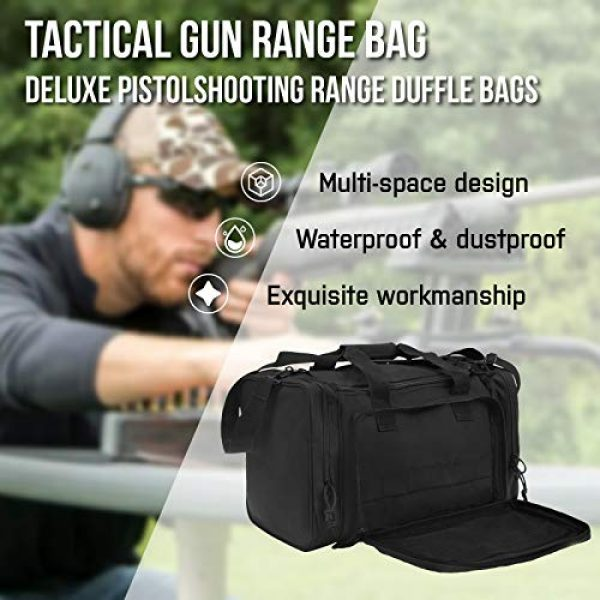 GUAWIN Pistol Case 5 Range Bag Tactical Bag Gun Bag for Handguns Pistol Durable Water Resistant Tactical Duffle Bag with Magazine Gear Accessories Pouch Suitable for Shooting Range, Hunting, Storage and Transport