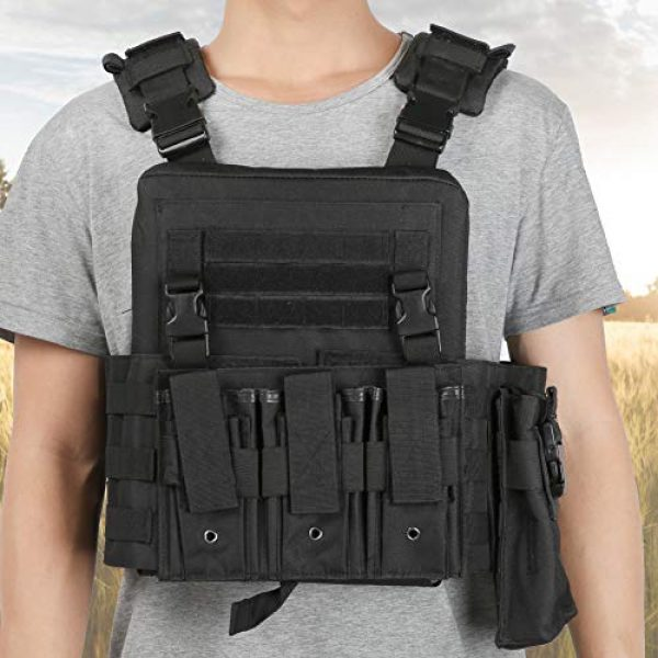 Taidda- Airsoft Tactical Vest 7 Outdoor Waistcoat, Multi Pocket Outdoor Tactics Waistcoat, Molle Tactics Camouflage/Black Adjustable Lightweight for Put Items Items