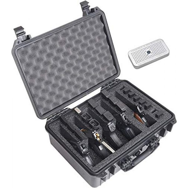 Case Club Pistol Case 1 Case Club 5 Pistol and 20 Magazine Pre-Cut Heavy Duty Waterproof Case with Included Silica Gel Canister to Help Prevent Gun Rust (Upgraded Gen-2)