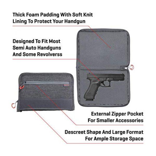 Allen Company Pistol Case 3 Allen Company 11 inch Auto-Fit 2.0 Deluxe Handgun Case, Gray/Red
