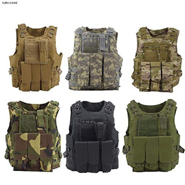 BGJ Airsoft Tactical Vest 3 Military Gear Army Paintball Combat Protective Vest Outdoor Camouflage Tactical Vest for Hunting Airsoft CS Wargame Body Armor