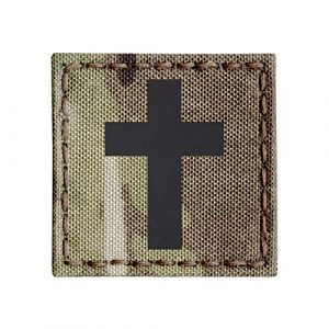 Tactical Freaky Airsoft Morale Patch 1 IR Multicam OCP 2x2 Christian Cross Jesus Christ Crucifix Faith Religion God Infrared Tactical Morale Touch Fastener Patch