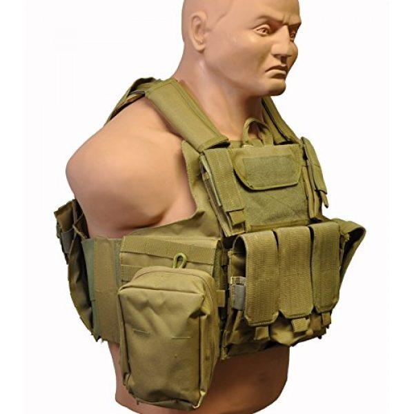 KTW Products Airsoft Tactical Vest 3 KTW Law Enforcement Military Airsoft Tactical Molle Vest M-XL w/Multiple Pouches (TAN)