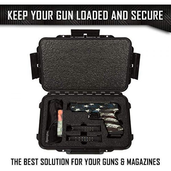 MY CASE BUILDER Pistol Case 7 1 Pistol 2 Magazine + Accessory Medium Duty Lightweight Waterproof Single Gun Sport Case - Doro Cases with Custom Mycasebuilder Foam Insert