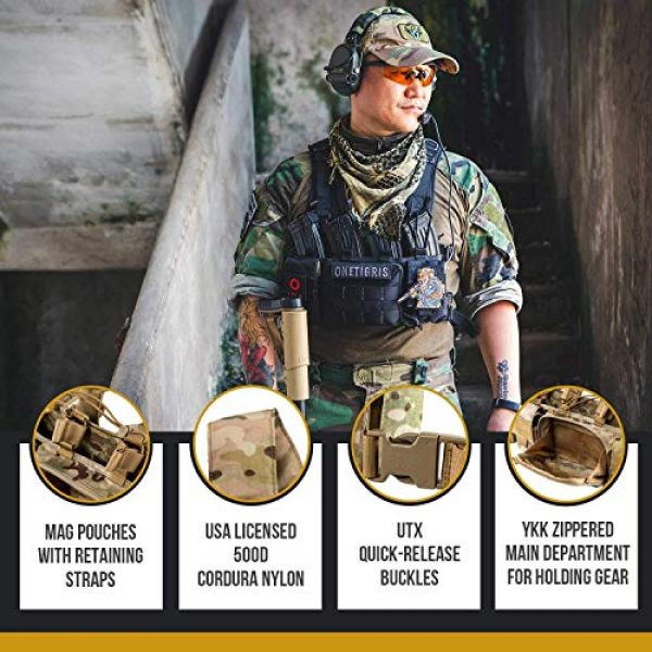 OneTigris Airsoft Tactical Vest 5 OneTigris Multicam Chest RIG & Tactical Hood & Half Face Mask