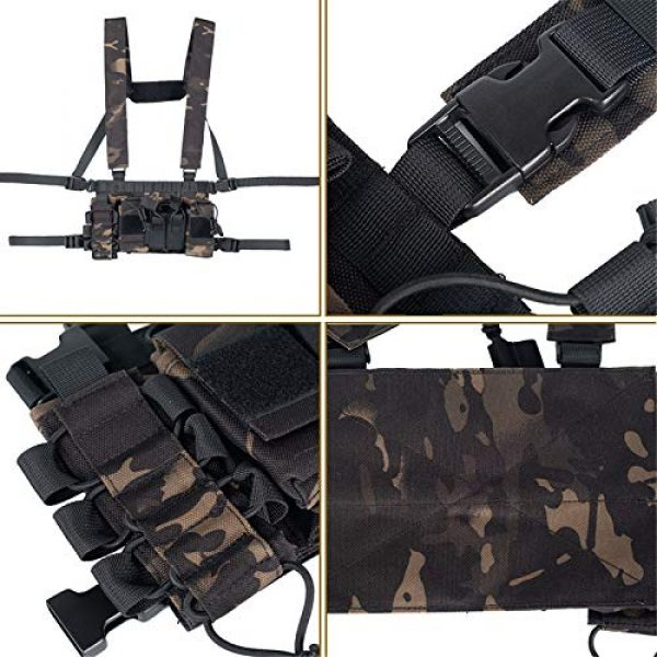 Armiya Airsoft Tactical Vest 6 Armiya Chest Rigs Tactical Airsoft, Molle Multifunction Paintball Rig Pistol Holster Harness Bag Vest for Men Shooting Hunting Training