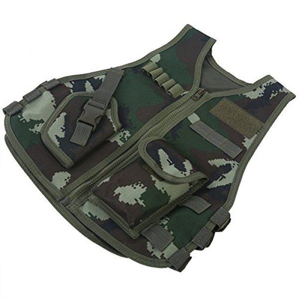 Fishlor Airsoft Tactical Vest 6 Fishlor Adjustable Camouflage Vest, Children Camouflage V-Neckline Vest with Multi Pocket for Outdoor Hunting Game(Jungle Camouflage L)