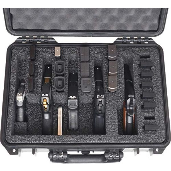 Case Club Pistol Case 2 Case Club 5 Pistol and 20 Magazine Pre-Cut Heavy Duty Waterproof Case with Included Silica Gel Canister to Help Prevent Gun Rust (Upgraded Gen-2)