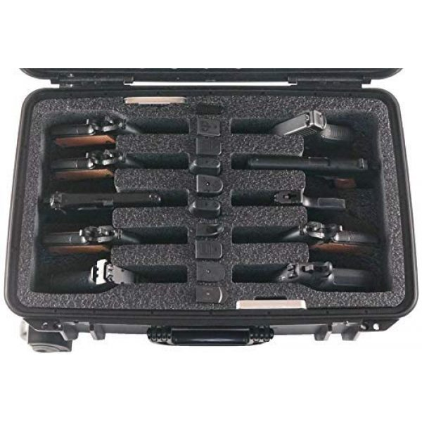 Case Club Pistol Case 2 Case Club 10 Pistol Pre-Cut Waterproof Case with 2 Silica Gel Canisters to Help Prevent Gun Rust (Wheeled)
