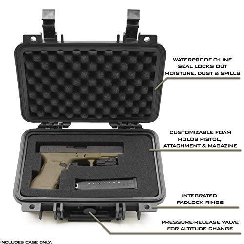 CASEMATIX Pistol Case 3 CASEMATIX Hard Gun Case for Pistols - Waterproof & Shockproof Gun Cases for Pistols, Compact 9mm Gun Case for Carrying Handgun with Scope and Accessories