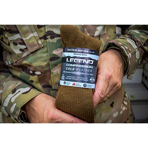 LEGEND Combat Boot Sock 3 (Cold Weather) Compression Merino Wool Tactical Boot Socks
