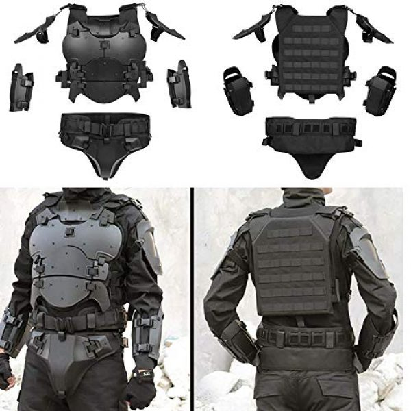 WoSporT Airsoft Tactical Vest 2 Airsoft Vest Body Armor Vests Adjustable Tactical Molle Chest Protector Vest+Elbow+Shoulder+Crotch+Battle Belt Set Paintball Military Combat Training Gear Motorcycle CS Cosplay Movie Costumes