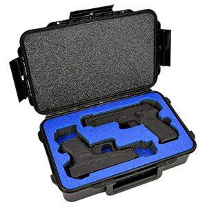 MY CASE BUILDER  1 2 Pistol Medium Duty Lightweight 2 Pistol Gun Sport Case - Double Handgun TSA Approved Storage - Doro Case with Military Grade Foam Insert
