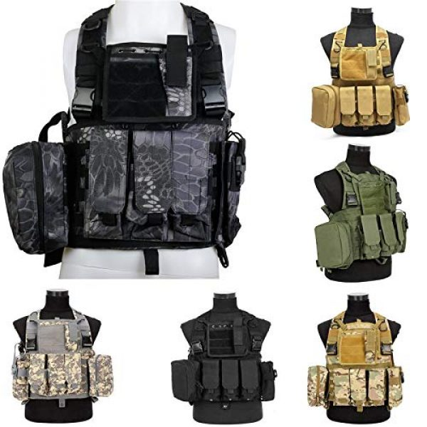 BGJ Airsoft Tactical Vest 3 CP Camo Vest RRV Molle Airsoft Tactical Vest Military Combat Assault Chest Rig Paintball Police Body Armor Hunting Vest