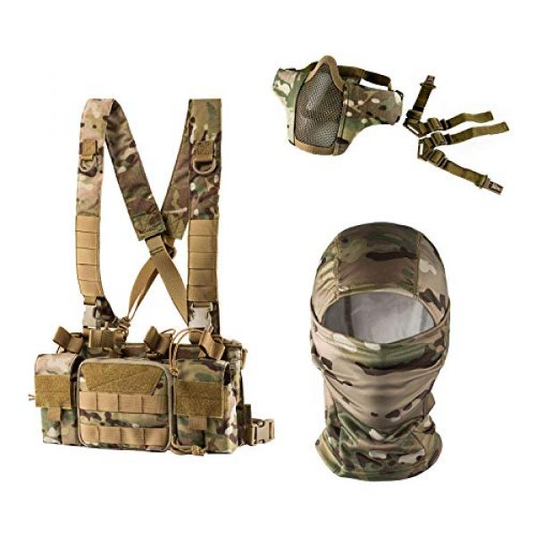 OneTigris Airsoft Tactical Vest 1 OneTigris Multicam Chest RIG & Tactical Hood & Half Face Mask
