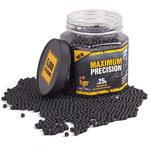 Game Face Airsoft BB 2 GameFace 25GPB5J Maximum Precision Heavy-Weight .25-Gram Black Airsoft BBs (5000-Count)