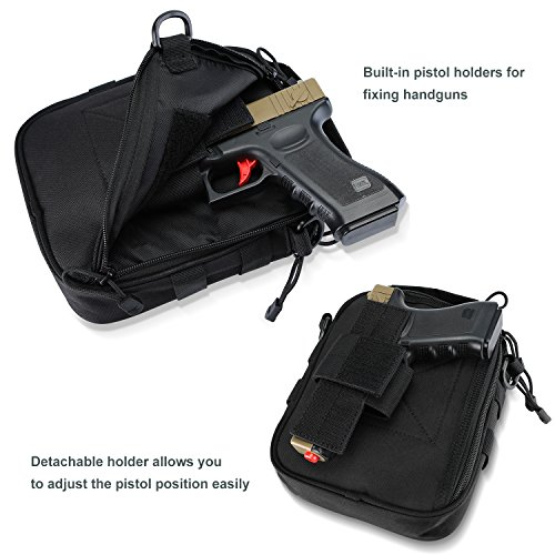 ProCase Pistol Case 5 ProCase Pistol Bag, Military Gear Tactical Handgun Shoulder Strap Bag Gun Ammo Accessories Pouch Shooting Range Duffle Bag for Shooting Range Sport - Black