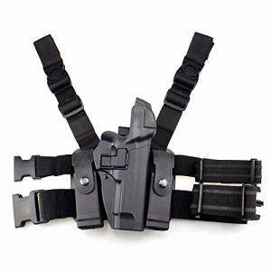 PG Airsoft Gun Holster 1 PG Tactical M92 Leg Holster Right Thigh Gun Holster Paddle Belt Level 3 Lock Duty Pistol Holsters Magazine Pouch for Beretta M9 M92