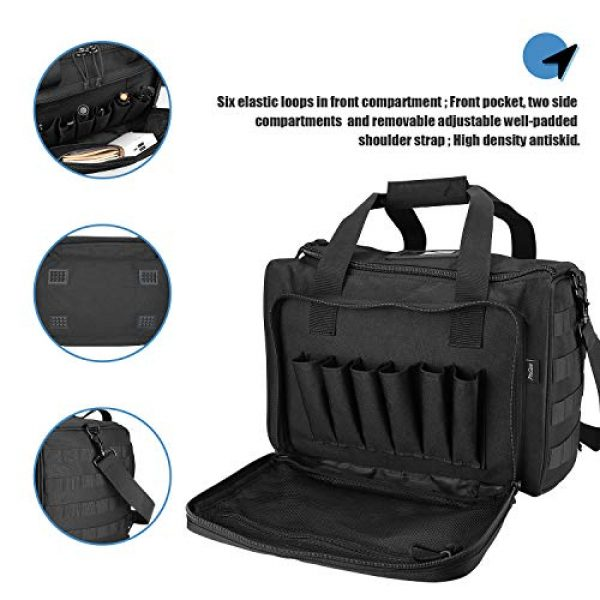 ProCase Pistol Case 7 ProCase Tactical Gun Range Bag for Handguns, Pistols and Ammo, Large Shooting Range Duffle Bags for Magazine Shooting Gear Accessories for Hunting Shooting Range Sport Competetion -Black