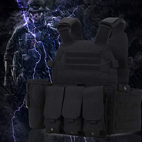 BGJ Airsoft Tactical Vest 3 Tactical Molle Vest Nylon Body Armor Hunting Plate Carrier Airsoft Paintball Vest with Magazine Pouch CS Game Combat Gear